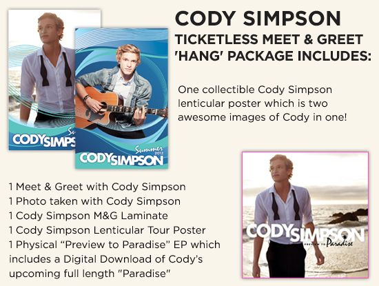 I got my meet and greet for cody simpson one of my dreams came get your cody simpson ticketless meet greet hang package now m4hsunfo