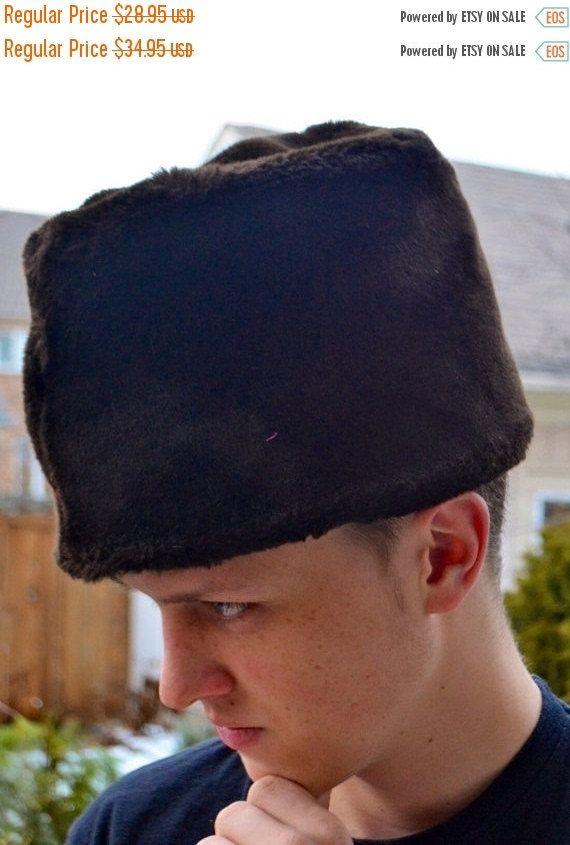 Men S Hat Vintage Men s Faux Fur Hat Brown Russian Ambassador Hat Pleated  on Top by StudioVintage on Etsy 099b6c8b24c
