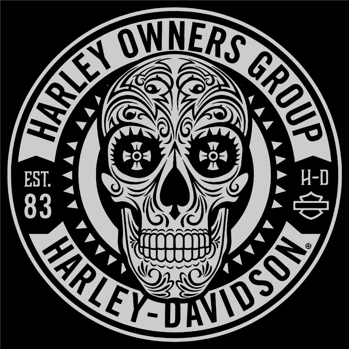 Harley Davidson Owners Group Skull Logo Vector Patch Sticker Badge Harley Harley Davidson Art Harley Davidson