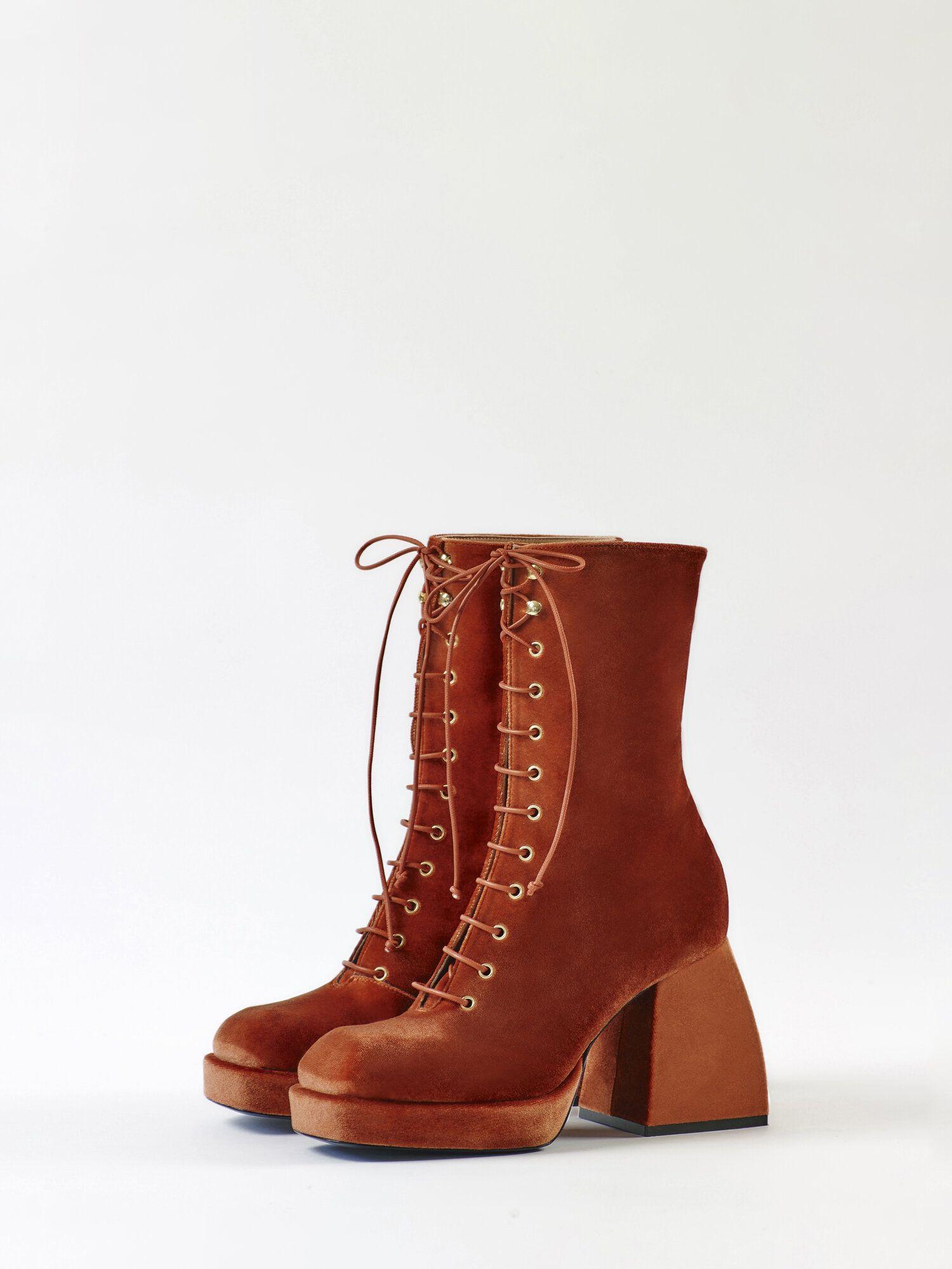 Bulla Lace Up Tangerine Velvet Nodaleto Velvet Heels Boots Dollskill Shoes
