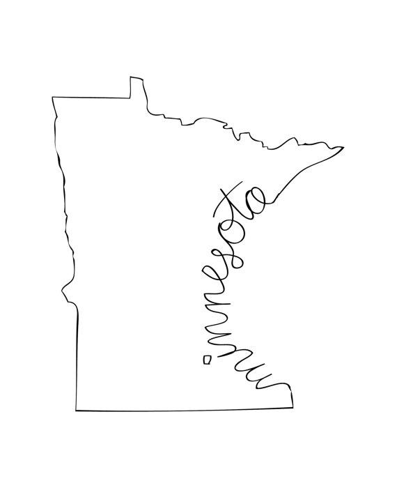 Printable Minnesota State Art Print 8x10 Digital Wall Art T In