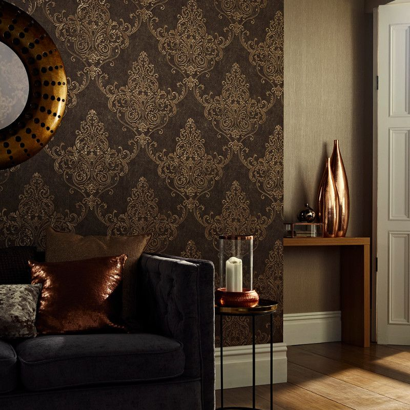 Arthouse Valdina Damask Bronze Glitter Wallpaper With Deep Textures A Beautiful And Charcoal Colour Scheme Metallic Highlights For Perfect Finish