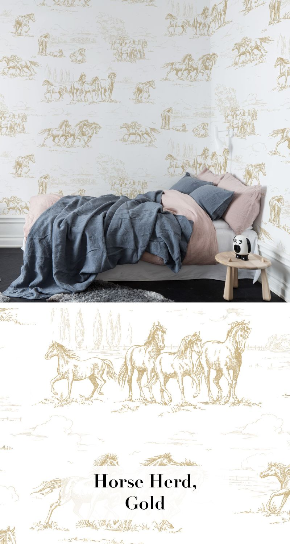 horse herd gold tapetenkollektion palette pinterest tapeten schlafzimmer tapete und. Black Bedroom Furniture Sets. Home Design Ideas