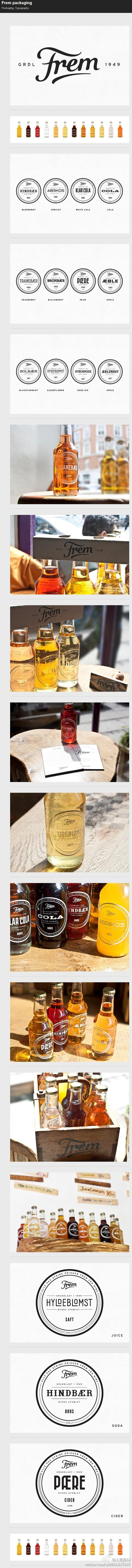 Frem drinks packaging - simple and effective, great use of clear labels to show off the subtle colour of the liquid