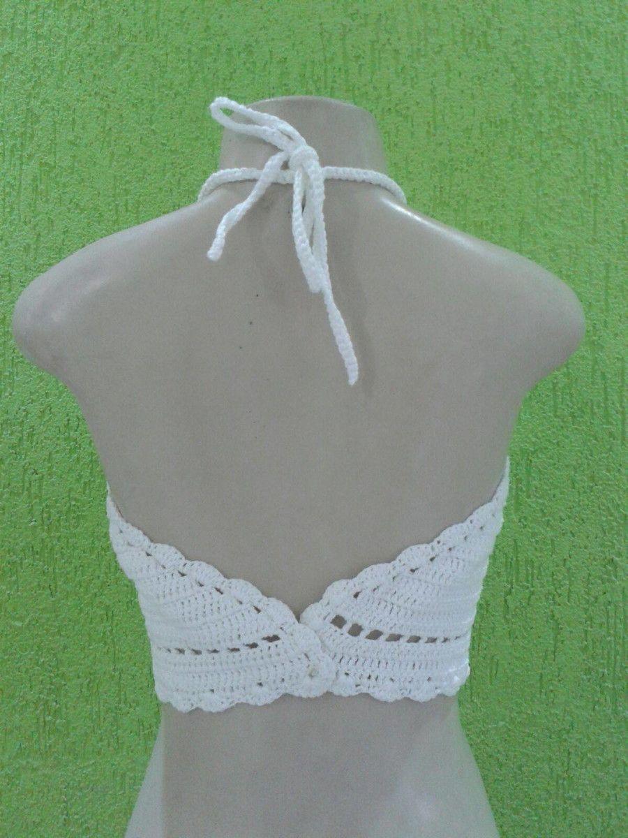 06c90102b730 Top Cropped em crochê, amarra no pescoço e trançado nas costas. Feito sob  encomenda, podendo escolher a cor e o tamanho desejado.