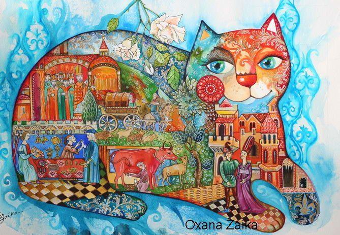 medieval cat - Peinture,  61x45 cm ©2016 par Oxana Zaika -                                                            Classicisme, Papier, Chats, medieval, cat, cats