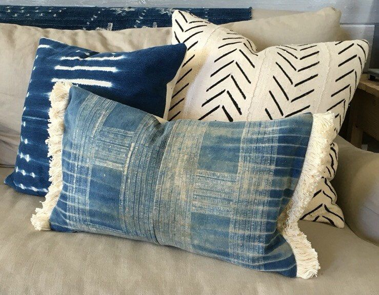 12X20 Pillow Insert Fair 12X20 Inch Vintage Indigo Hmong Pillow Cover Withonefinenest Decorating Inspiration