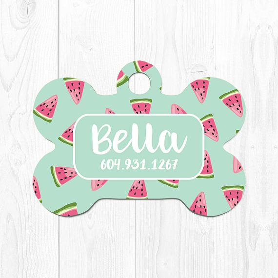 Dog Tag for Dogs Pet ID Tag Dog ID Tag Pet Gift for Dogs Tags Dog Tag ID Mint Green Watermelon Custom Dog Tag Cute Dog Tag Custom Pet Tag