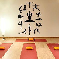 Yoga Wall Decal Vinyl Sticker, Yoga Studio Decor, Lotus Yoga Meditation Symbol Fitness Pilates Sport...