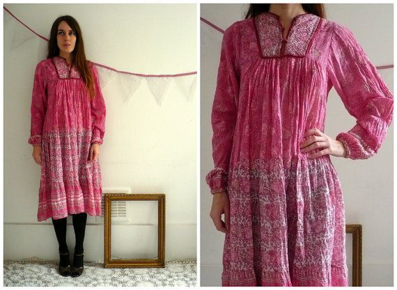 1970's Bib Front Indian Cotton Hippie Caftan by 5678Vintage, £75.00