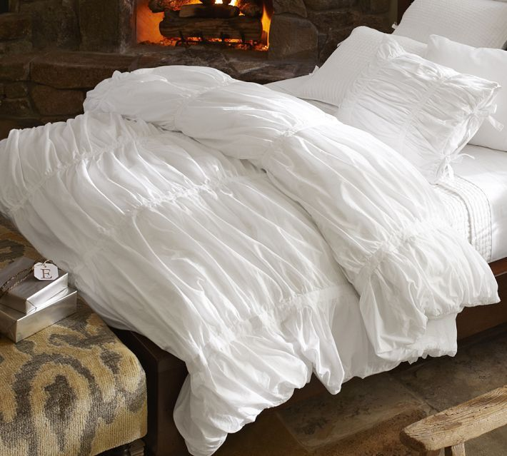 Cal King Pottery Barn Hadley Ruched Duvet Cover Sham White Bed Linens Luxury White Duvet Ruched Bedding