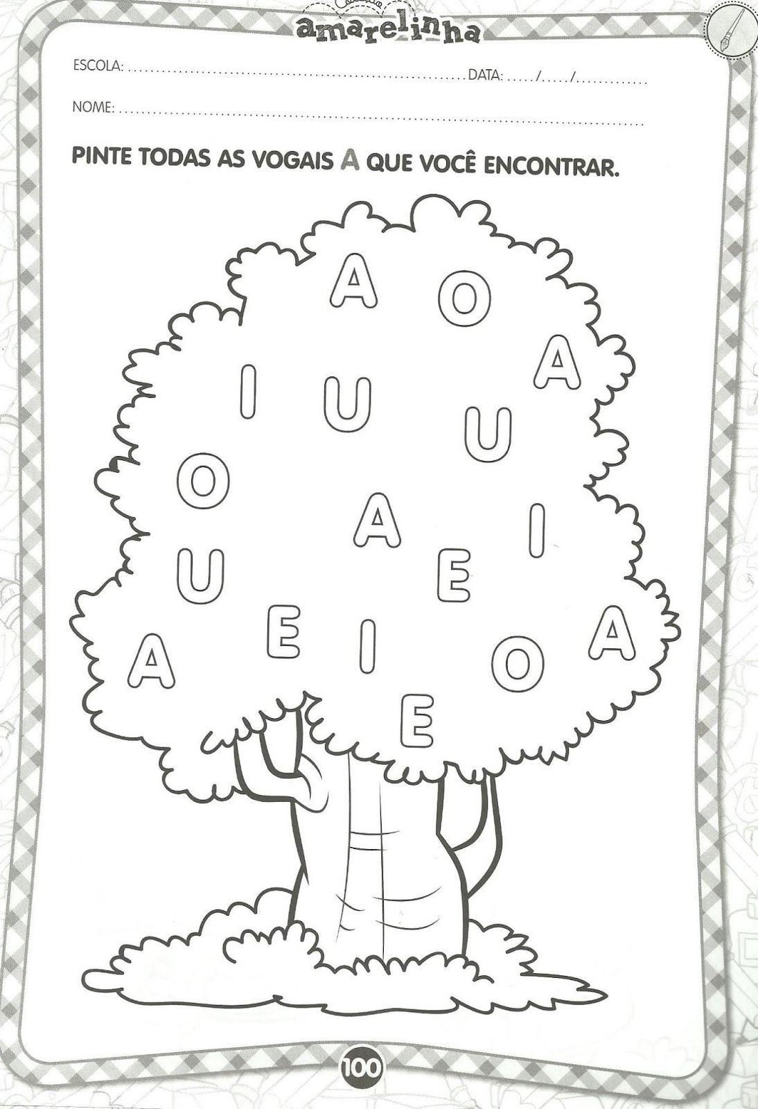 Fabuloso atividades infantis com as vogais para colorir | Vogais e  WH86