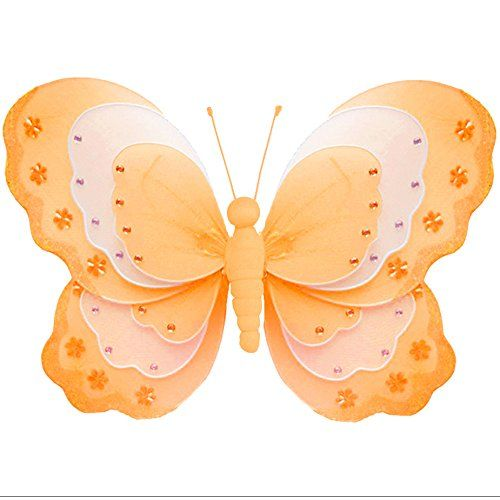 Butterfly Decoration Orange White Triple Layered 3D Hanging Mesh ...