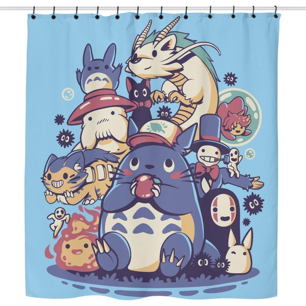 Creatures Friends And Spirits Shower Curtain Ghibli Artwork