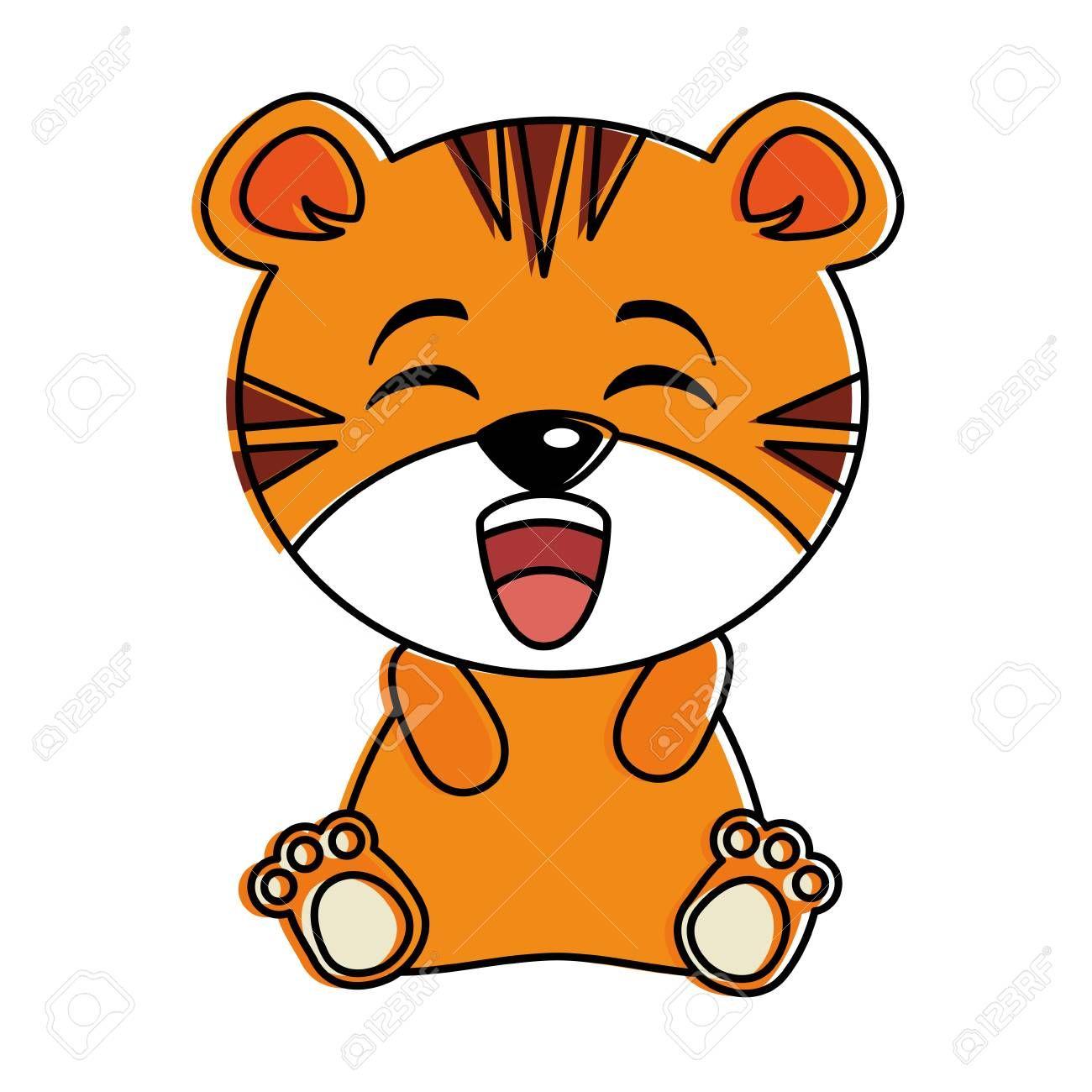 cute tiger kawaii character vector illustration design Illustration ,