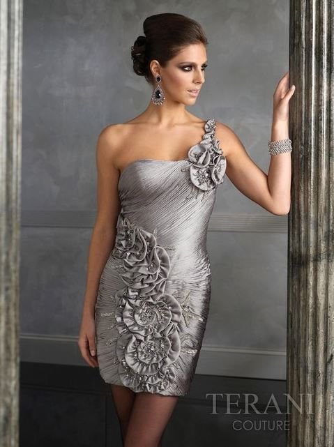 Terani Couture One Shoulder Silver Cocktail Dress Above the knee ...