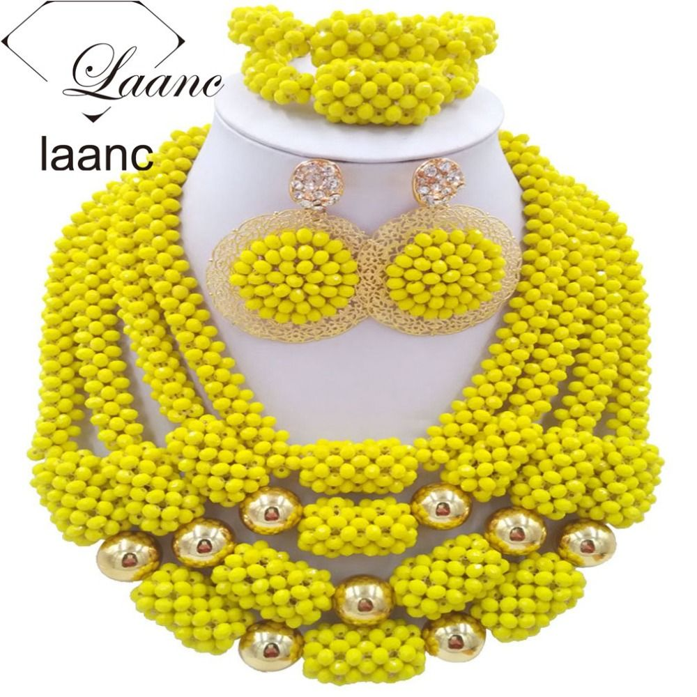 Find More Jewelry Sets Information about Nigerian Wedding Necklace Yellow African Beads Jewelry Set laanc AL062,High Quality jewelry tiara,China jewelry earing Suppliers, Cheap jewelry rose from laanc african beads Store on Aliexpress.com