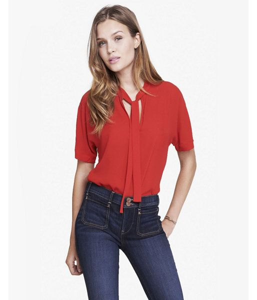 114842737e7a7 Tie Front Short Sleeve Blouse Red Women s XS