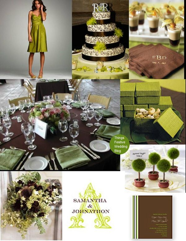 Fall Wedding Theme - Apple Green & Chocolate Brown Color Palette ...