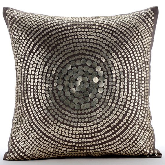 Grey Sequin Throw Pillow : Designer Grey / Silver Sequins Pillows Cover by TheHomeCentric Grey Pillows/Cushions ...