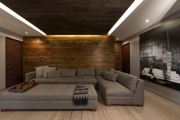 Plancher de meubles armoire Salon Gris mur sombre bois | Déco ...