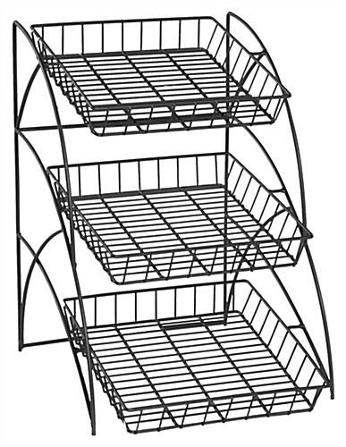 Wire Rack For Tabletop Use With 3 Open Shelves Black In 2019