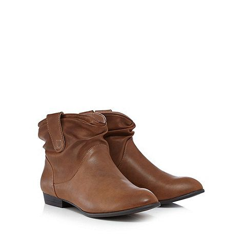 Mantaray Tan ruched ankle boots | Debenhams