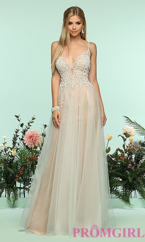 Zoey Grey - 31250 Floral Sequined Plunging Sweetheart Long