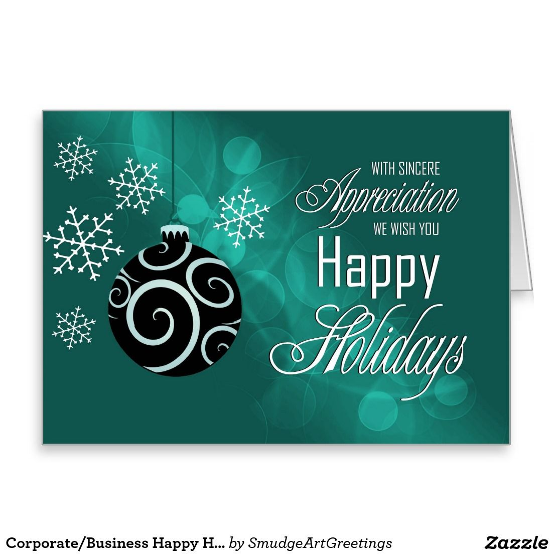 Corporatebusiness Happy Holidays Emerald Green Holiday Card
