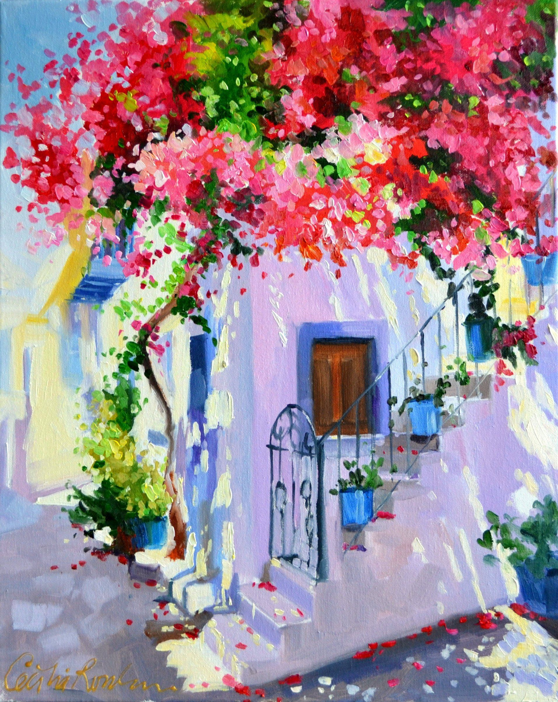 Ready To Hang Canvas Art Print Of Bougainvillea Awning Beautiful