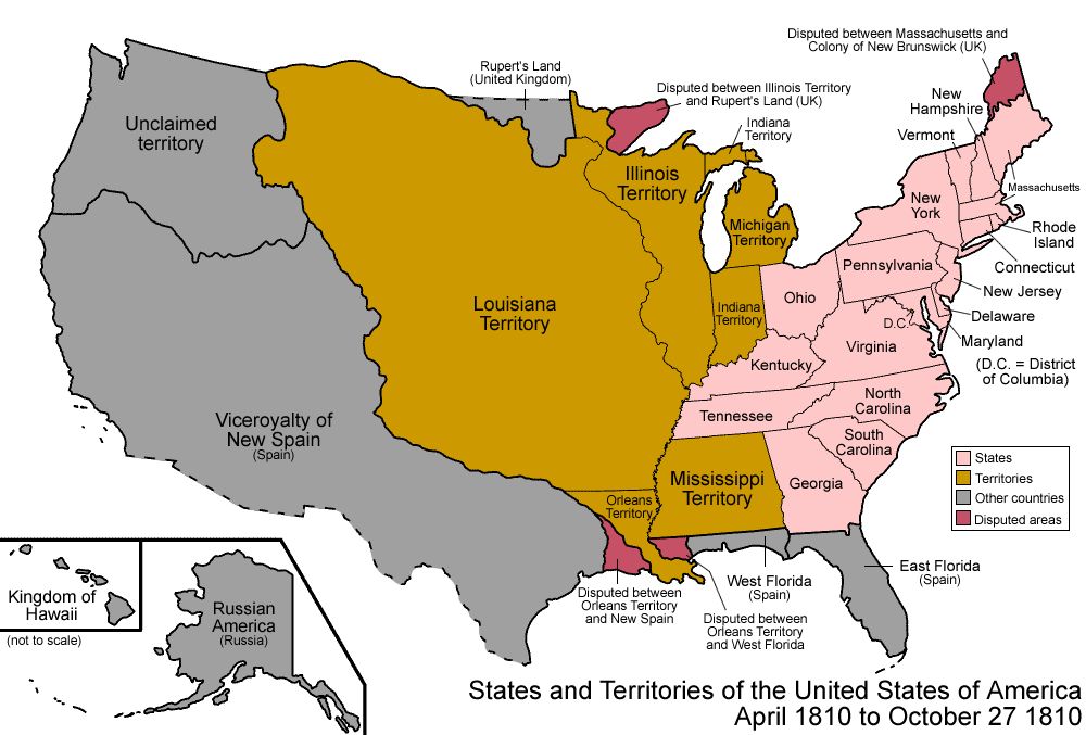 022 States And Territories Of The United States Of America April 1810 To October 27 1810