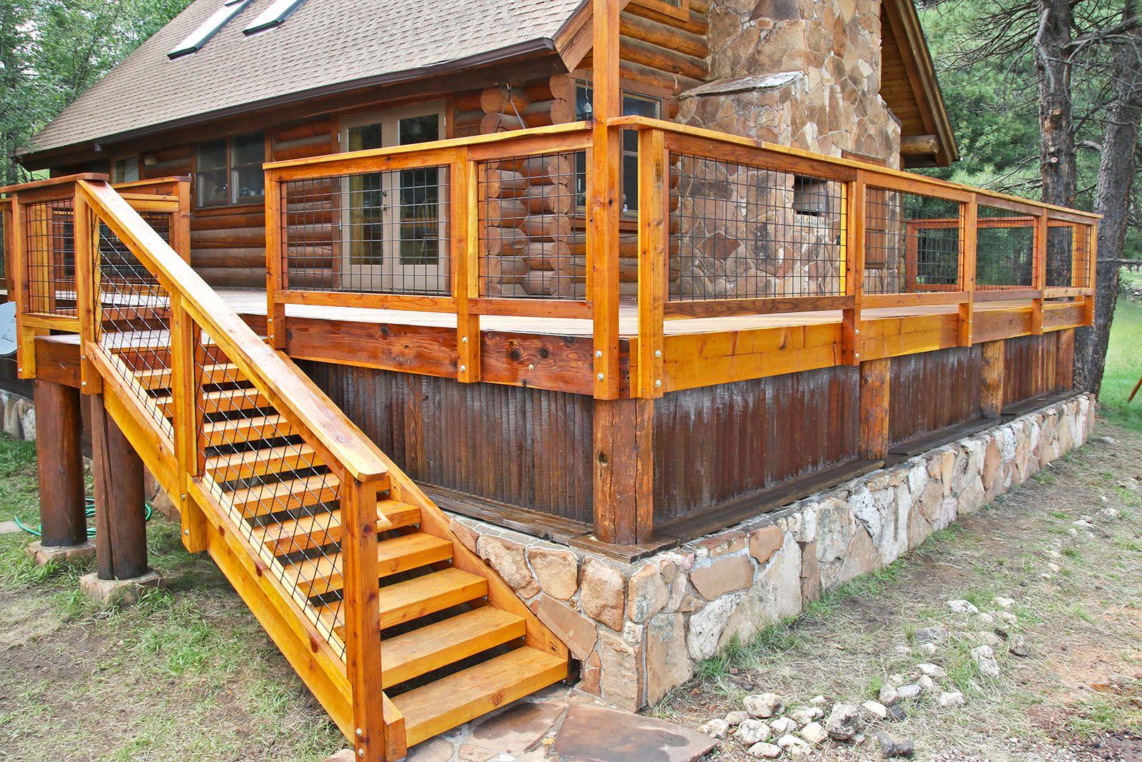 Wild Hog railing in a redwood frame on a Log Cabin near ...