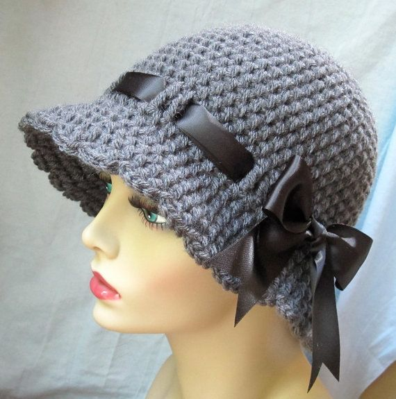 Crochet Womens Hat Charcoal Gray Cloche Black By