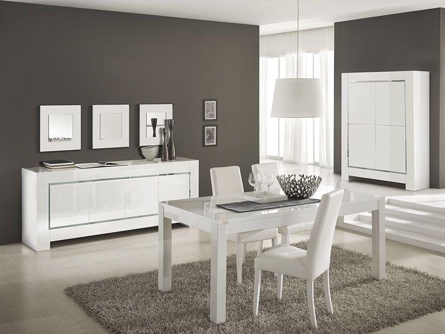 Table à manger rectangulaire extensible 130-170cm en bois laqué
