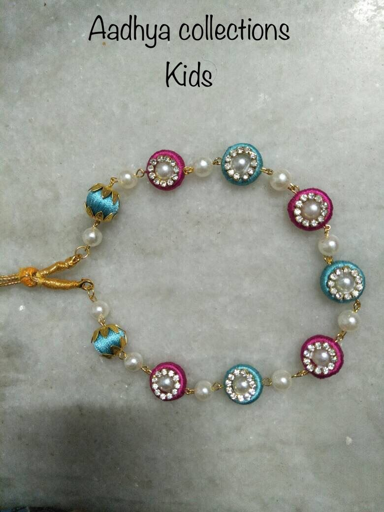 These little necklaces are very cute on your little princess..earrings  will also be available..we can customize the color for your matchings..to order and for many more designs  email us at sruthi.rrk@gmail.com