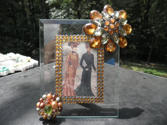 Floral Jeweled Picture Frame Green Amber Colors by MyInnerPrincess, $19.50