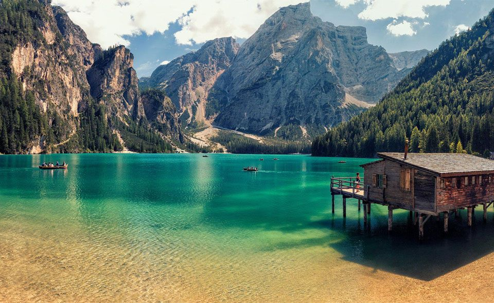 Crystal Clear Emerald Prags Lake in Tyrol, Italy