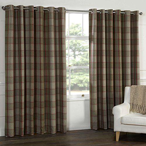 Wool Touch Heavy Lined Tartan Tweed Plaid Curtains Red Na Tweed Curtains Plaid Curtains Tartan Curtains