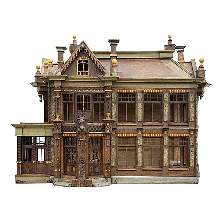 rare painted wooden fretwork birds cage depicting a house vogelvilla vogelh user und miniatur. Black Bedroom Furniture Sets. Home Design Ideas