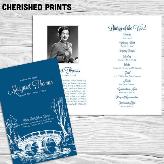 Bridges Funeral Or Memorial Program Bulletin By Cherishedprints