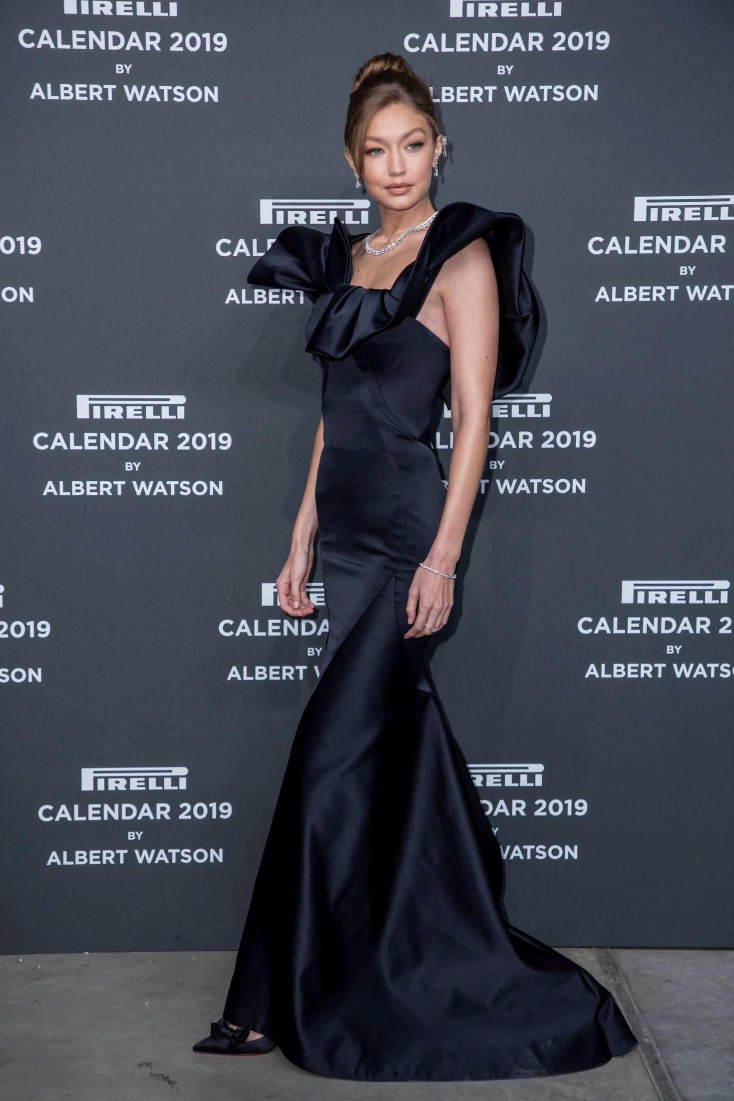 Gigi Hadid In Zac Posen At 2019 Pirelli Calendar Launch Gala In