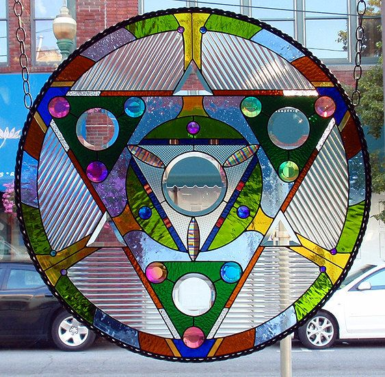 Dichroic Stained Glass Panel Disc Medicine Wheel Sacred