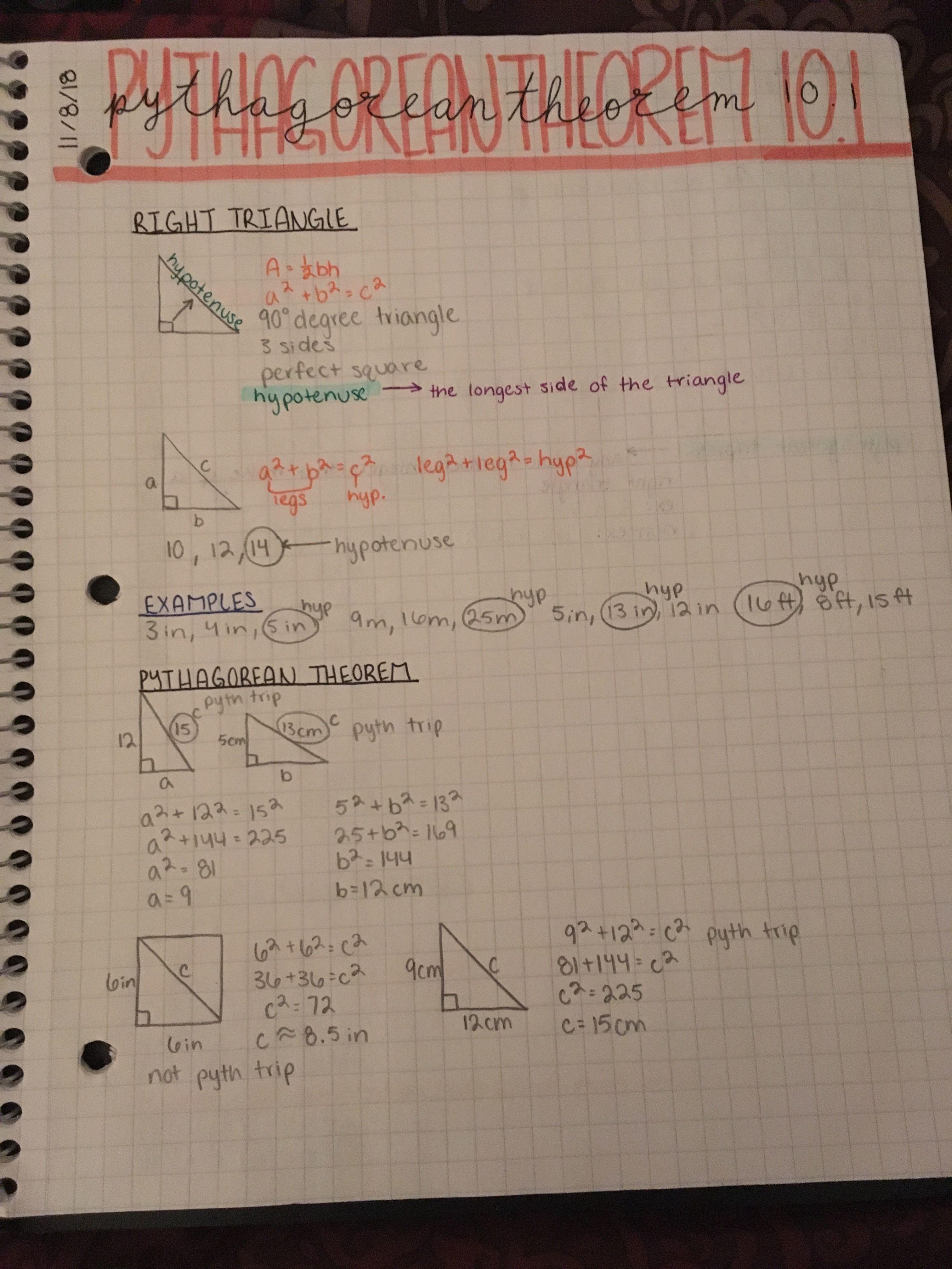 Algebra Pythagorean Theorem Notes Math notes, Algebra