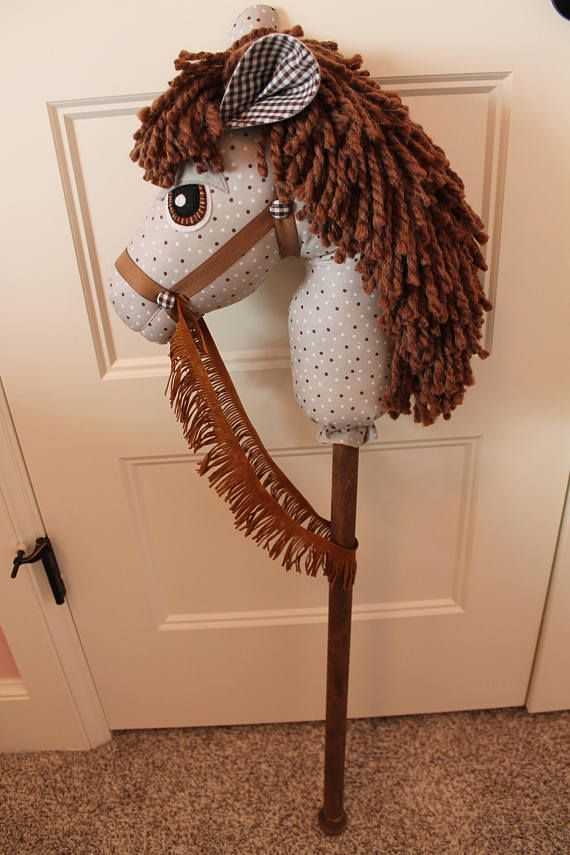 Gray and Brown Stick Horse - Hobby Horse - Boy Horse Birthday Gift - Stick Pony - Toy Horse - Christmas Gift - Cowboy Birthday Party #hobbys