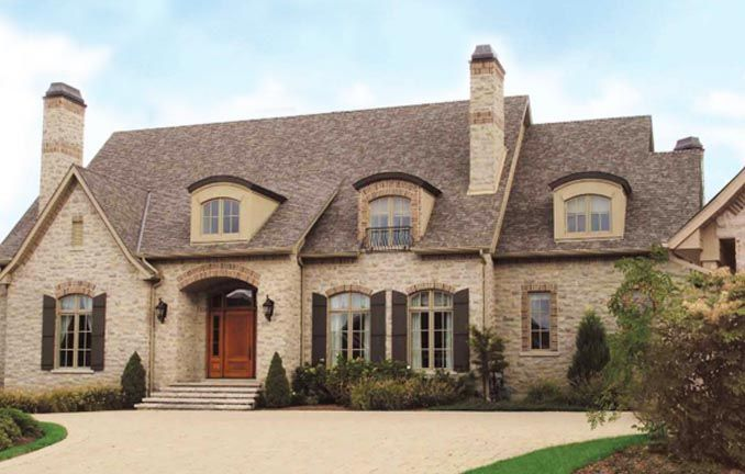 Brick and stone exterior combinations arriscraft citadel for French country exterior