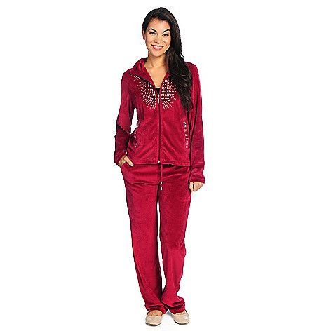 724-153 - Glitterscape® Knit Velour Embellished Zip Front Jacket & Elastic Pants Set