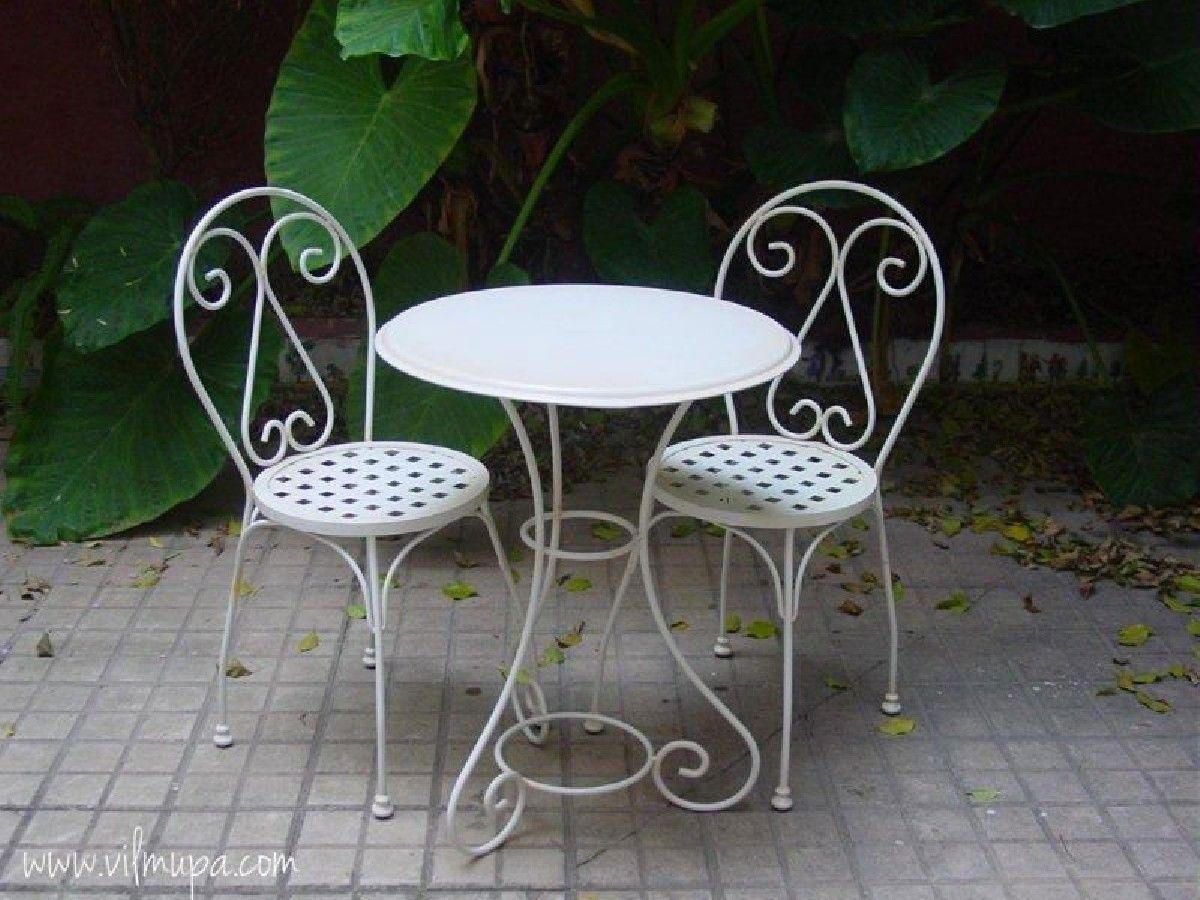 Silla de forja blanca vilmupa piscinas y terrazas for Sillas para terraza y jardin