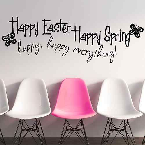 Happy easter happy spring wall window decals stickers ebay uk