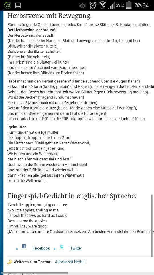 Fingerspiele Herbst: | Kita | Pinterest | Fingerspiel herbst ...