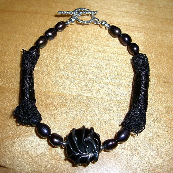 Steampunk Bracelet with Black Lace, Artisan Glass and Pearls. Made In The USA by Andreas Jewelry